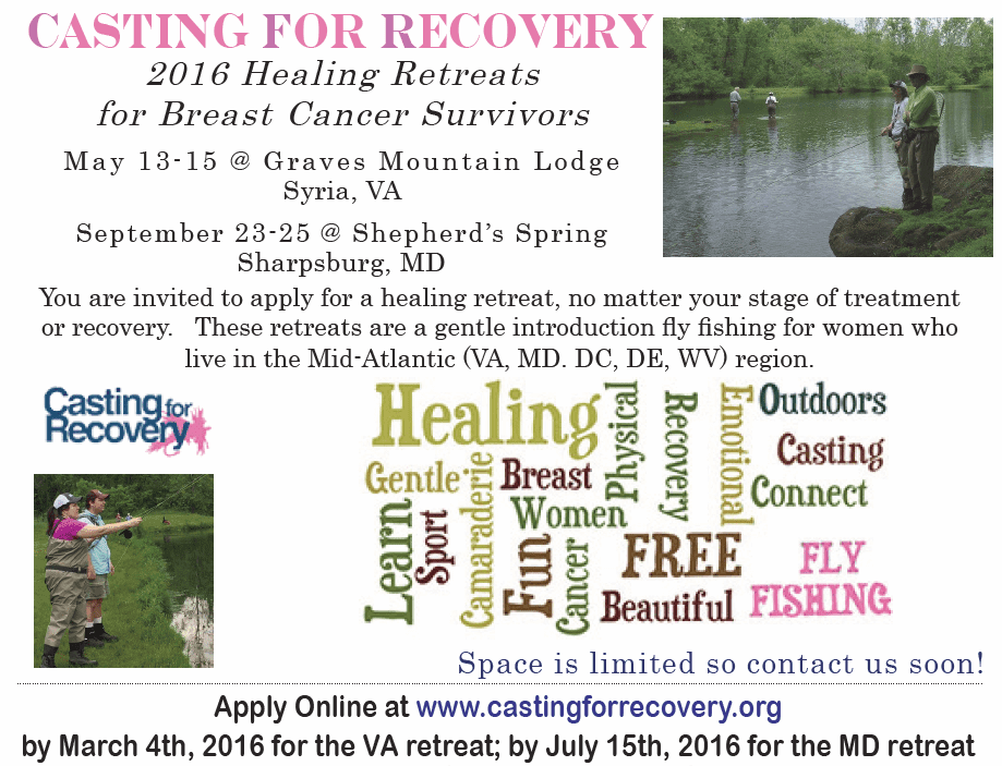 Casting for Recovery - Healing Retreat for Breast Cancer Survivors @ Shepherd's Spring | Sharpsburg | Maryland | United States